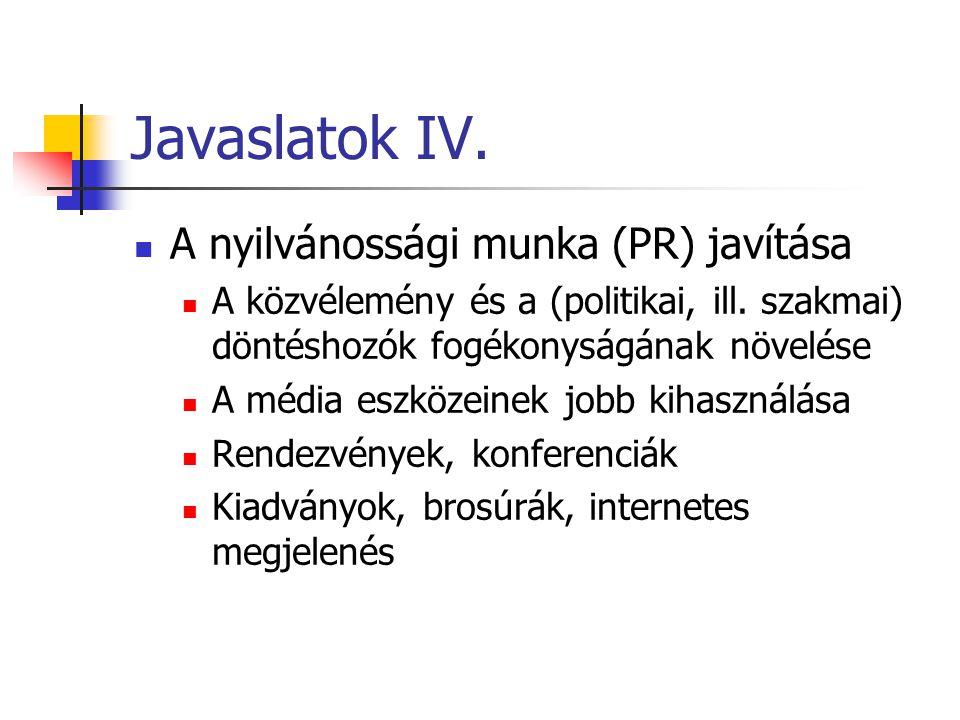 Javaslatok IV. A nyilvánossági munka (PR) javítása A közvélemény és a (politikai, ill. szakmai) döntéshozók fogékonyságának növelése A média eszközein