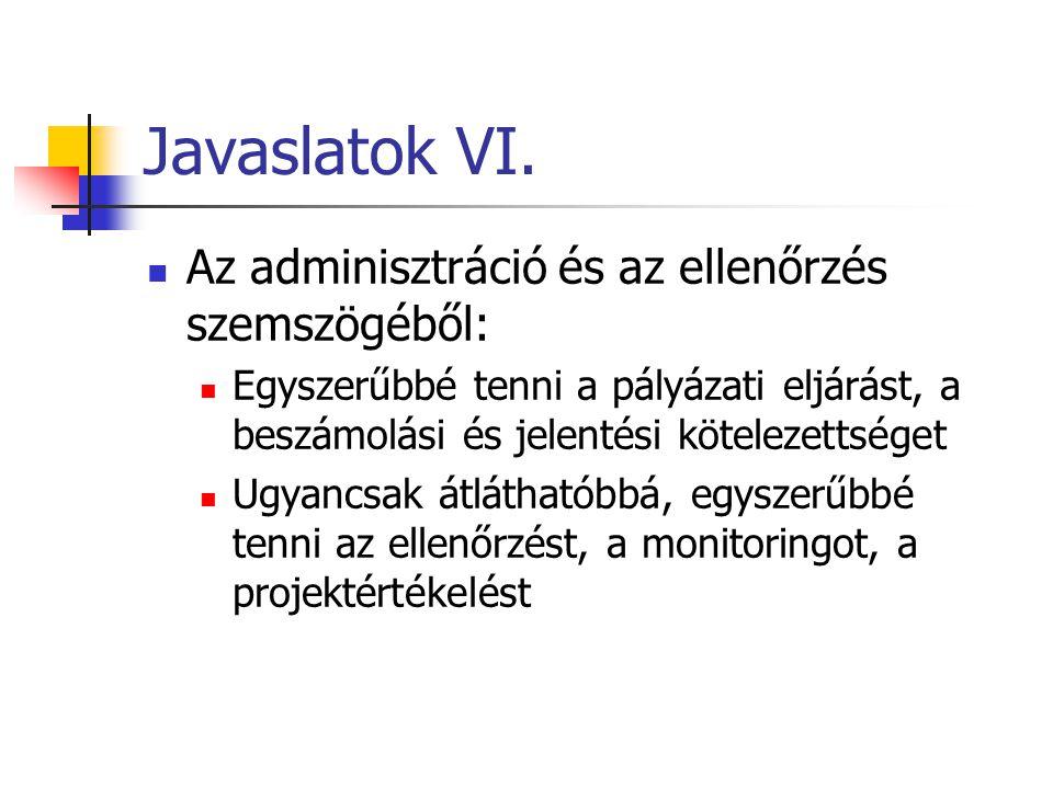 Javaslatok VI. Az adminisztráció és az ellenőrzés szemszögéből: Egyszerűbbé tenni a pályázati eljárást, a beszámolási és jelentési kötelezettséget Ugy