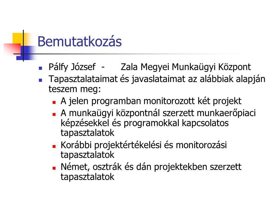 Bemutatkozás Pálfy József -Zala Megyei Munkaügyi Központ Tapasztalataimat és javaslataimat az alábbiak alapján teszem meg: A jelen programban monitorozott két projekt A munkaügyi központnál szerzett munkaerőpiaci képzésekkel és programokkal kapcsolatos tapasztalatok Korábbi projektértékelési és monitorozási tapasztalatok Német, osztrák és dán projektekben szerzett tapasztalatok