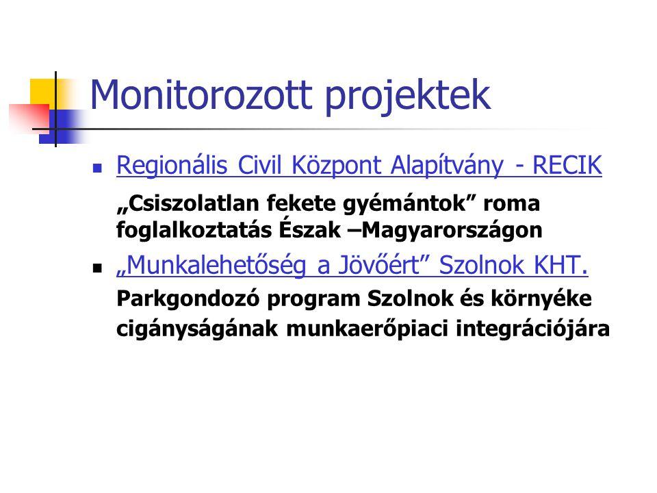 """Monitorozott projektek Regionális Civil Központ Alapítvány - RECIK """" Csiszolatlan fekete gyémántok roma foglalkoztatás Észak –Magyarországon """"Munkalehetőség a Jövőért Szolnok KHT."""
