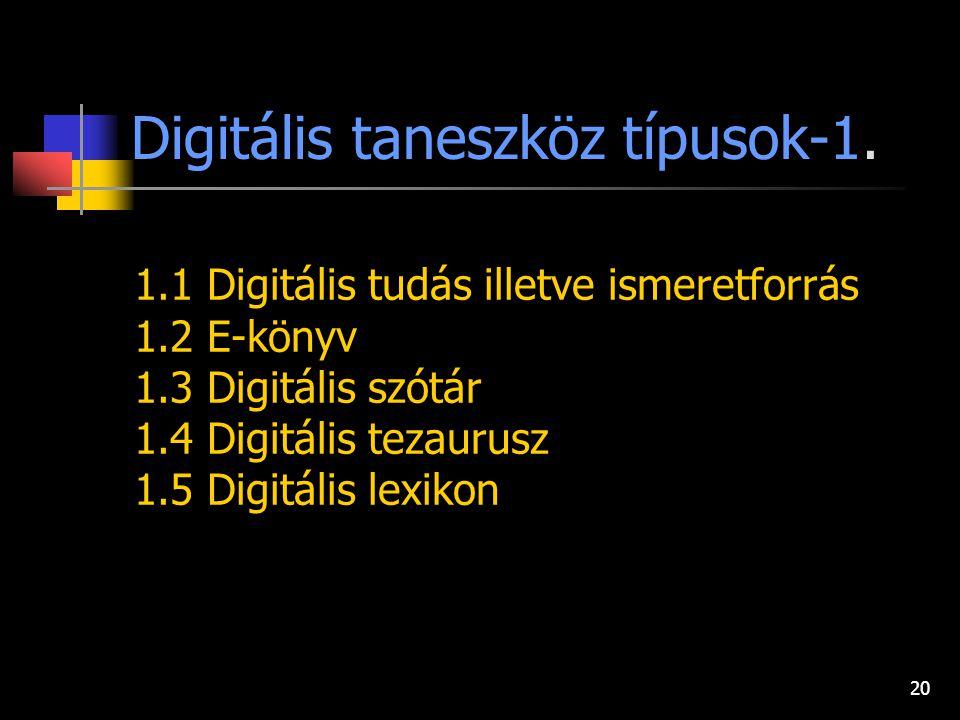 19 Digitális taneszköz típusok I. TUDÁSKÖRNYEZET Ismeret átadás Információ feldolgozás és alkalmazás II. TÁMOGATÓ KÖRNYEZET ÉS/VAGY RENDSZER