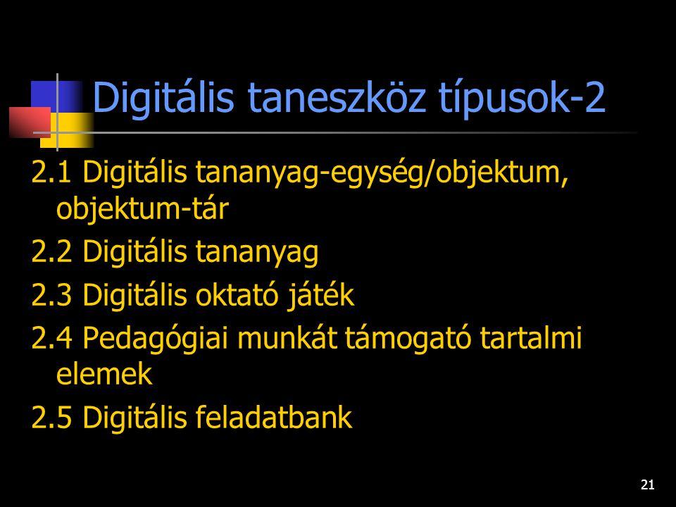 20 Digitális taneszköz típusok-1. 1.1 Digitális tudás illetve ismeretforrás 1.2 E-könyv 1.3 Digitális szótár 1.4 Digitális tezaurusz 1.5 Digitális lex