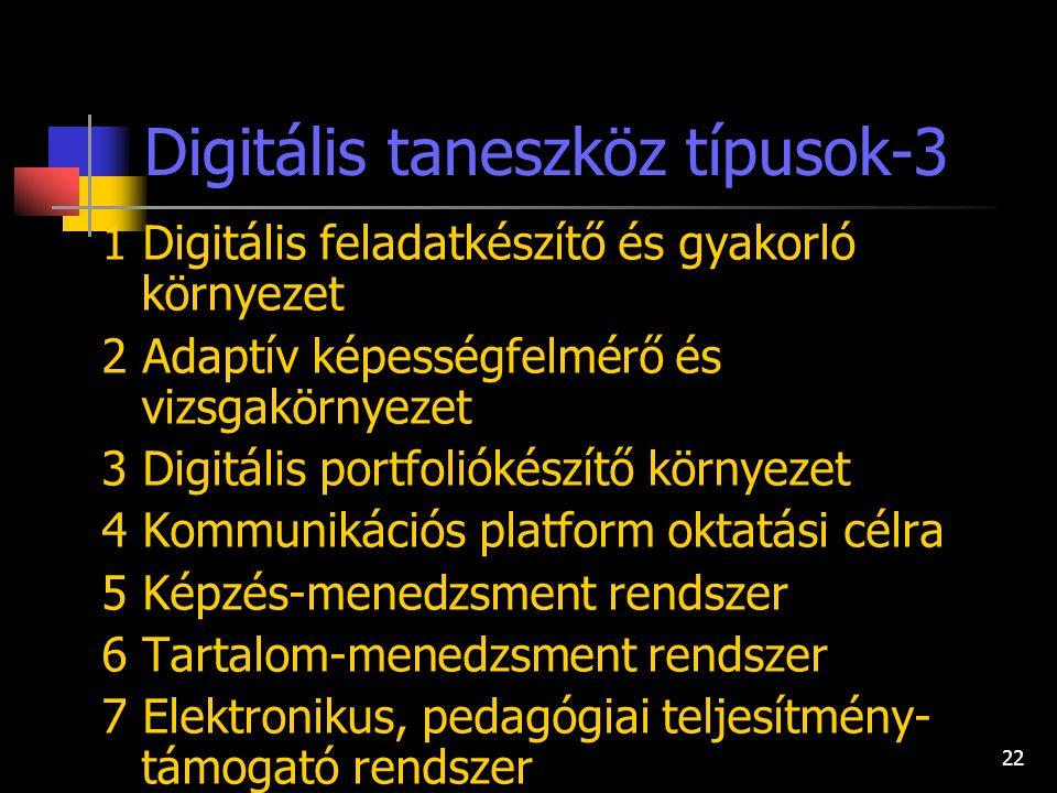 21 Digitális taneszköz típusok-2 2.1 Digitális tananyag-egység/objektum, objektum-tár 2.2 Digitális tananyag 2.3 Digitális oktató játék 2.4 Pedagógiai