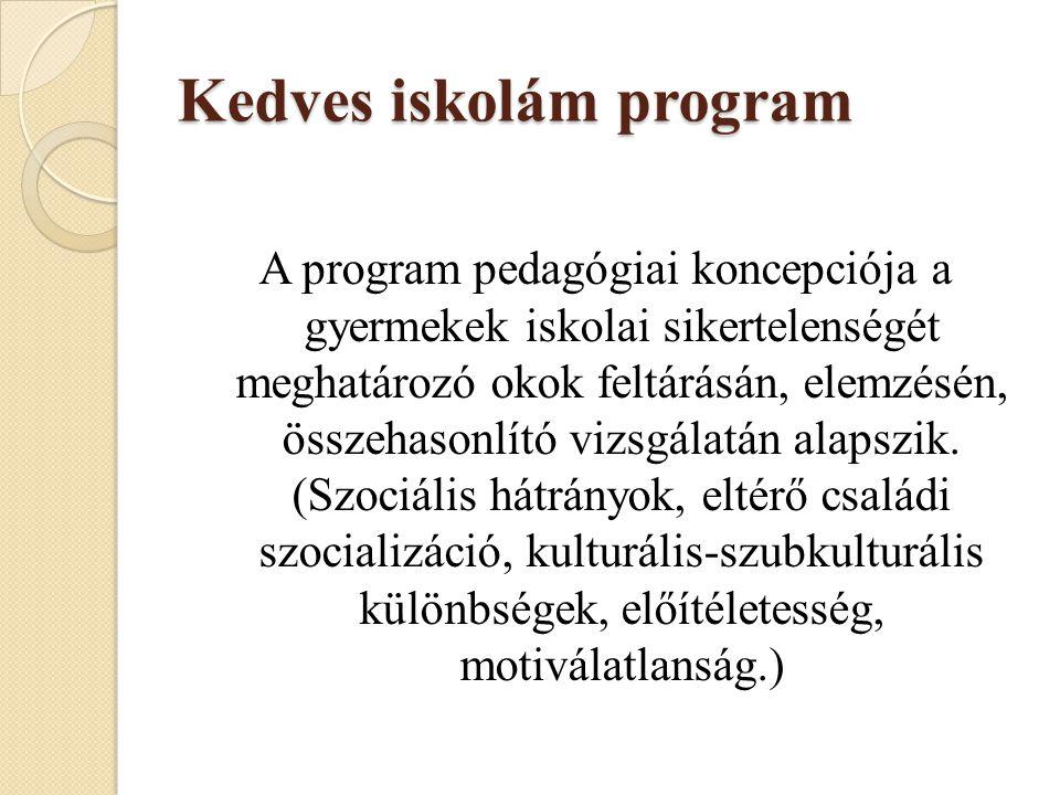 Kedves iskolám program A program pedagógiai koncepciója a gyermekek iskolai sikertelenségét meghatározó okok feltárásán, elemzésén, összehasonlító viz