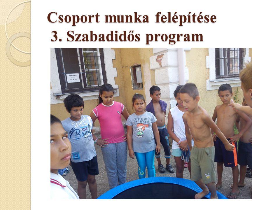 Csoport munka felépítése 3. Szabadidős program