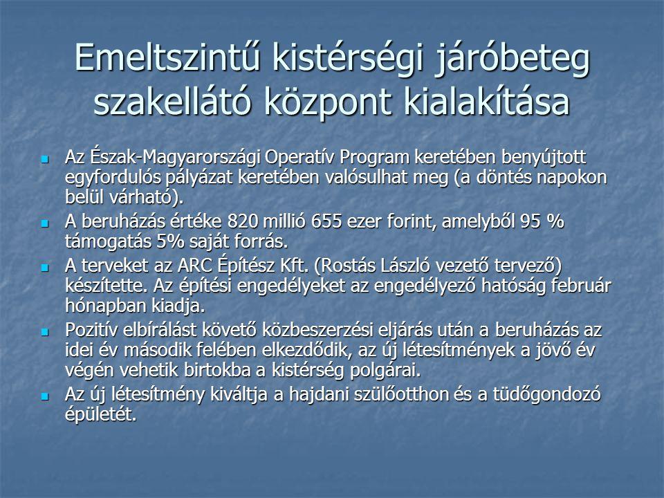 Emeltszintű kistérségi járóbeteg szakellátó központ kialakítása Az Észak-Magyarországi Operatív Program keretében benyújtott egyfordulós pályázat keretében valósulhat meg (a döntés napokon belül várható).