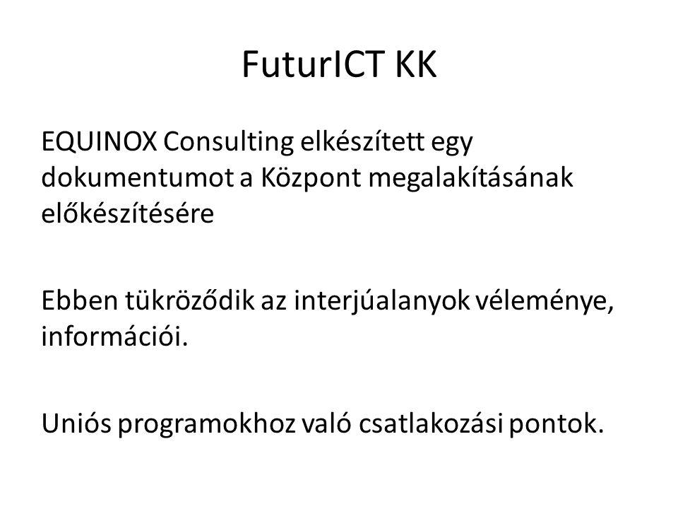 FuturICT KK EQUINOX Consulting elkészített egy dokumentumot a Központ megalakításának előkészítésére Ebben tükröződik az interjúalanyok véleménye, információi.