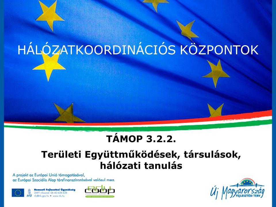 HÁLÓZATKOORDINÁCIÓS KÖZPONTOK TÁMOP 3.2.2. Területi Együttműködések, társulások, hálózati tanulás
