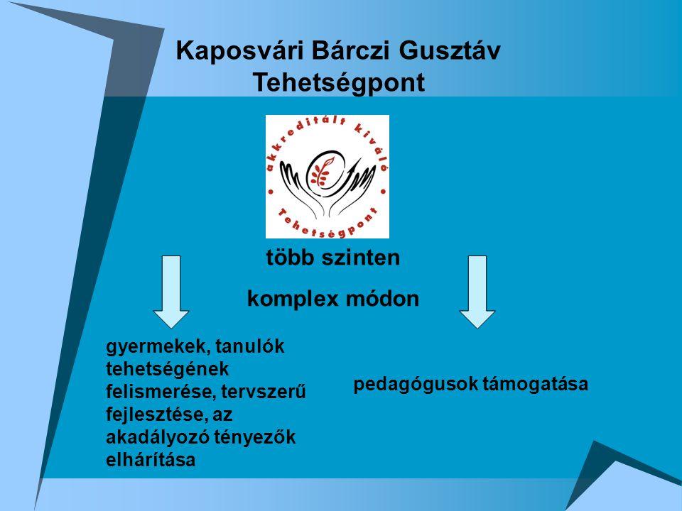 Kaposvári Bárczi Gusztáv Tehetségpont több szinten komplex módon gyermekek, tanulók tehetségének felismerése, tervszerű fejlesztése, az akadályozó tényezők elhárítása pedagógusok támogatása