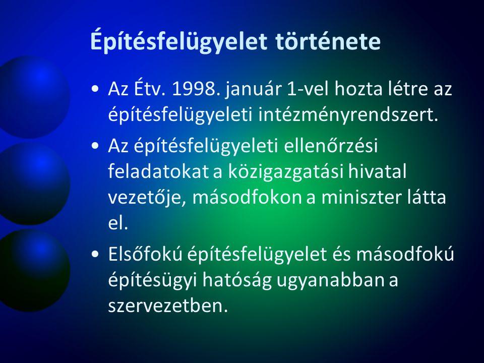 Építésfelügyelet története Az Étv. 1998. január 1-vel hozta létre az építésfelügyeleti intézményrendszert. Az építésfelügyeleti ellenőrzési feladatoka