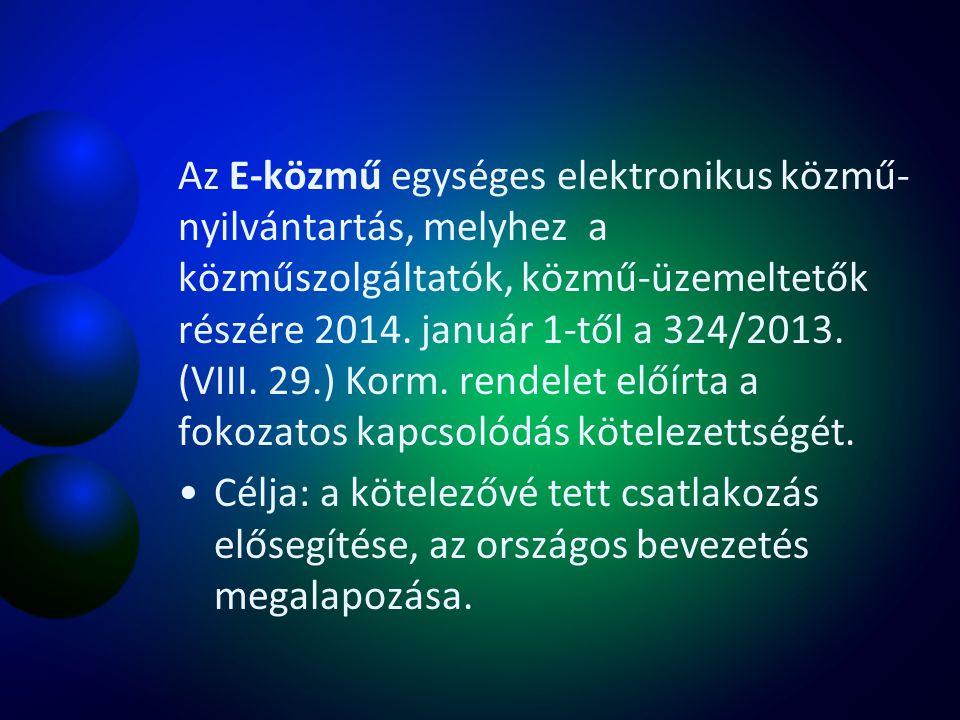 Az E-közmű egységes elektronikus közmű- nyilvántartás, melyhez a közműszolgáltatók, közmű-üzemeltetők részére 2014. január 1-től a 324/2013. (VIII. 29