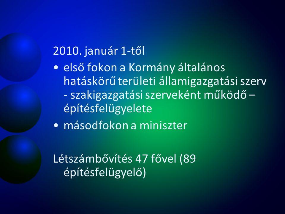 2010. január 1-től első fokon a Kormány általános hatáskörű területi államigazgatási szerv - szakigazgatási szerveként működő – építésfelügyelete máso