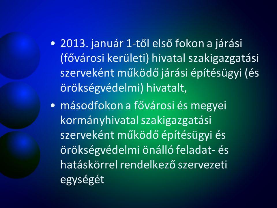 2013. január 1-től első fokon a járási (fővárosi kerületi) hivatal szakigazgatási szerveként működő járási építésügyi (és örökségvédelmi) hivatalt, má