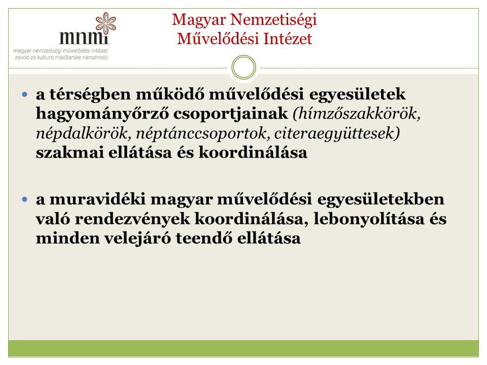 Magyar Nemzetiségi Művelődési Intézet a térségben működő művelődési egyesületek hagyományőrző csoportjainak (hímzőszakkörök, népdalkörök, néptánccsoportok, citeraegyüttesek) szakmai ellátása és koordinálása a muravidéki magyar művelődési egyesületekben való rendezvények koordinálása, lebonyolítása és minden velejáró teendő ellátása