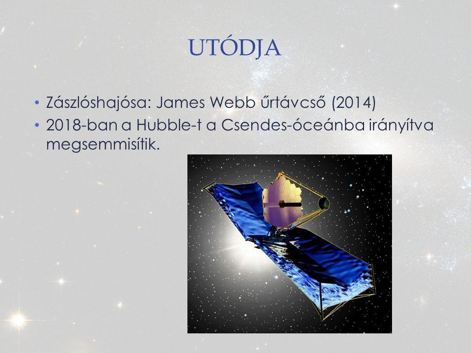 UTÓDJA Zászlóshajósa: James Webb űrtávcső (2014) 2018-ban a Hubble-t a Csendes-óceánba irányítva megsemmisítik.