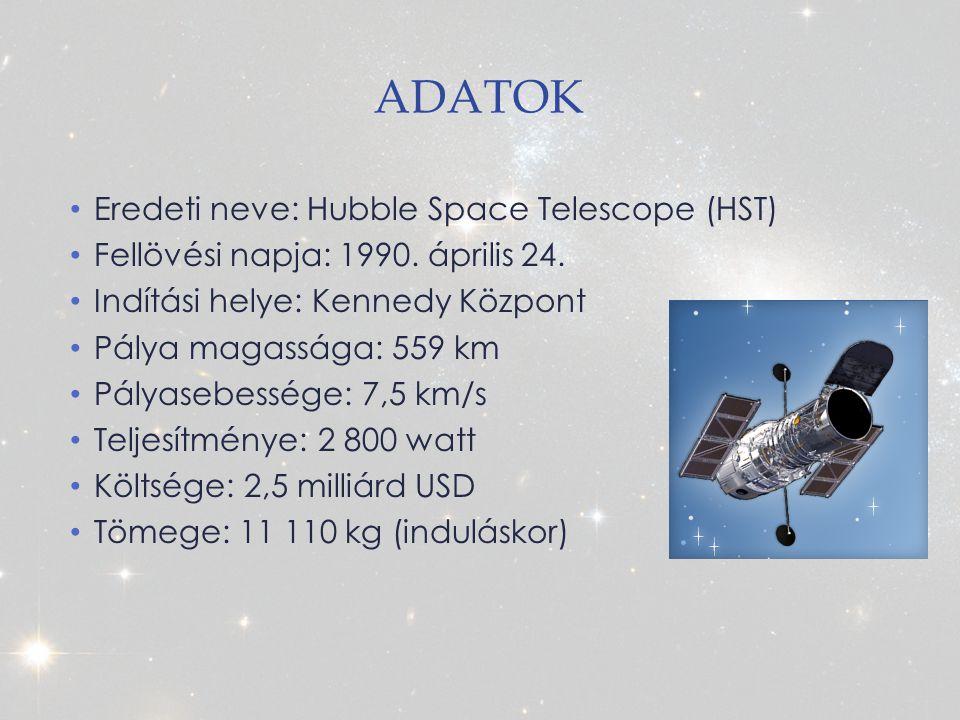 ADATOK Eredeti neve: Hubble Space Telescope (HST) Fellövési napja: 1990.