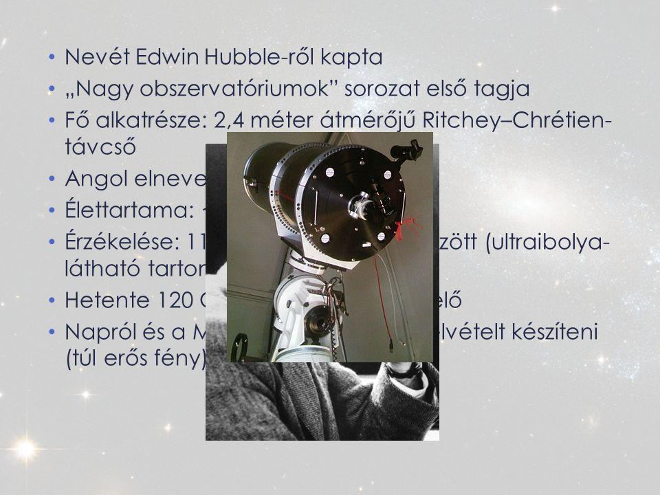 """Nevét Edwin Hubble-ről kapta """"Nagy obszervatóriumok sorozat első tagja Fő alkatrésze: 2,4 méter átmérőjű Ritchey–Chrétien- távcső Angol elnevezése: """"Nép távcsöve Élettartama: ~ 28 év Érzékelése: 115–2500 nanométer között (ultraibolya- látható tartomány-infravörös) Hetente 120 Gigabyte adatot állít elő Napról és a Merkúrról nem képes felvételt készíteni (túl erős fény)"""