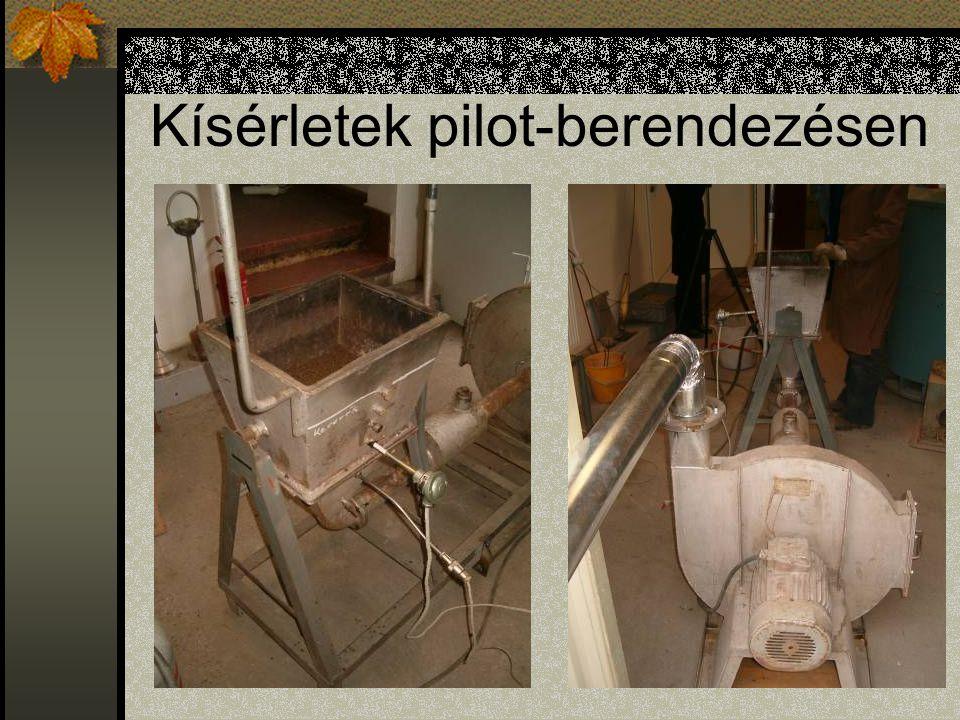 Kísérletek pilot-berendezésen