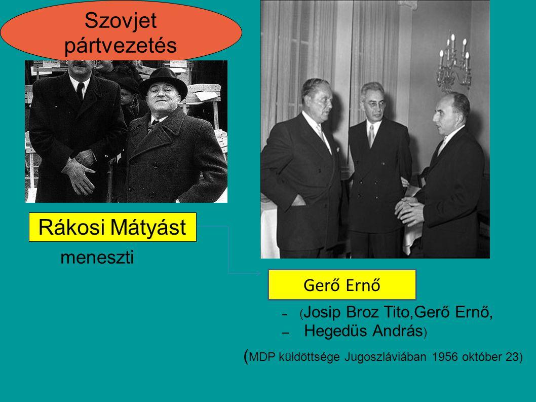 Újabb szovjet csaptok érkeznek MSZMP Október 31 feloszlatják rádióbeszédben jelentette be, hogy a kormány kinyilvánította Magyarország semlegességét, amelynek biztosításáért a négy nagyhatalomhoz fordult vezetője Kádár János MDP