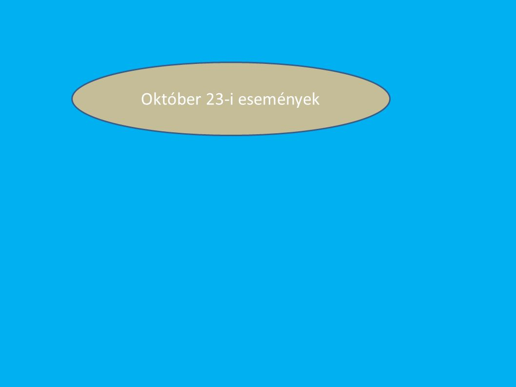 1956.okt.23 Hruscsov Tito Ausztria Nagy Imre 1953 1955 Varsói Szerződés 1956 MEFESZ Petőfi kör Irodalmi Újság Október 25 Október 26 Október 28 November 1 ENSZ MSZMP Október 24 AVH Október 30 Egypárt rendszer Mindszenty József Október 31 Varsói Szerződés Munkás Tanácsok Tárgyalások Megkezdődött a szovjet csapatok kivonása Koalíciós kormány 1956.