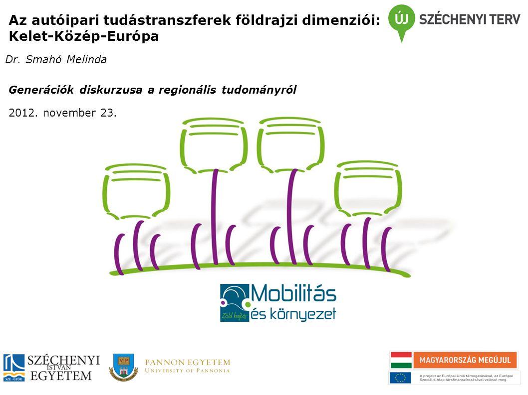 Az autóipari tudástranszferek földrajzi dimenziói: Kelet-Közép-Európa Dr. Smahó Melinda Generációk diskurzusa a regionális tudományról 2012. november