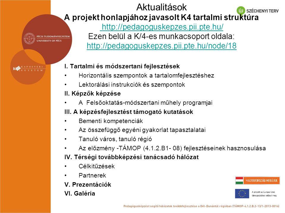 Aktualitások A projekt honlapjához javasolt K4 tartalmi struktúra http://pedagoguskepzes.pii.pte.hu/ Ezen belül a K/4-es munkacsoport oldala: http://p