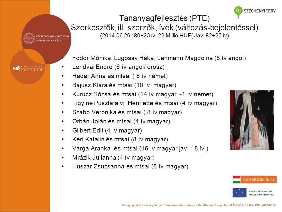 Tananyagfejlesztés (PTE) Szerkesztők, ill. szerzők, ívek (változás-bejelentéssel) (2014.06.26.: 80+23 ív 22 Millió HUF( Jav: 82+23 ív) Fodor Mónika, L