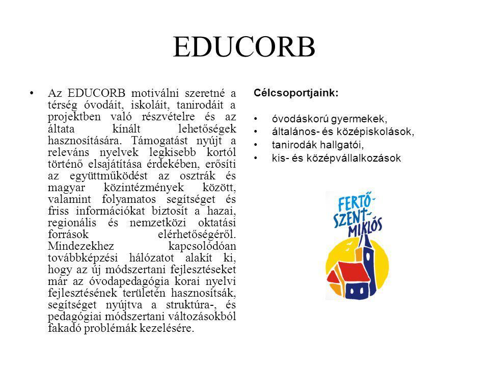 EDUCORB Az EDUCORB motiválni szeretné a térség óvodáit, iskoláit, tanirodáit a projektben való részvételre és az áltata kínált lehetőségek hasznosítás