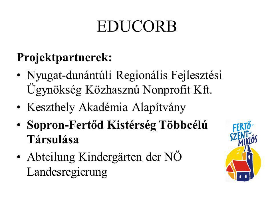 EDUCORB Projektpartnerek: Nyugat-dunántúli Regionális Fejlesztési Ügynökség Közhasznú Nonprofit Kft. Keszthely Akadémia Alapítvány Sopron-Fertőd Kisté
