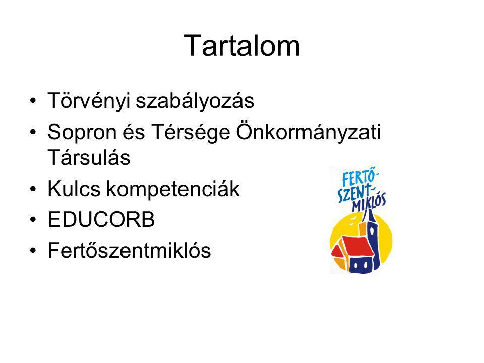 Tartalom Törvényi szabályozás Sopron és Térsége Önkormányzati Társulás Kulcs kompetenciák EDUCORB Fertőszentmiklós