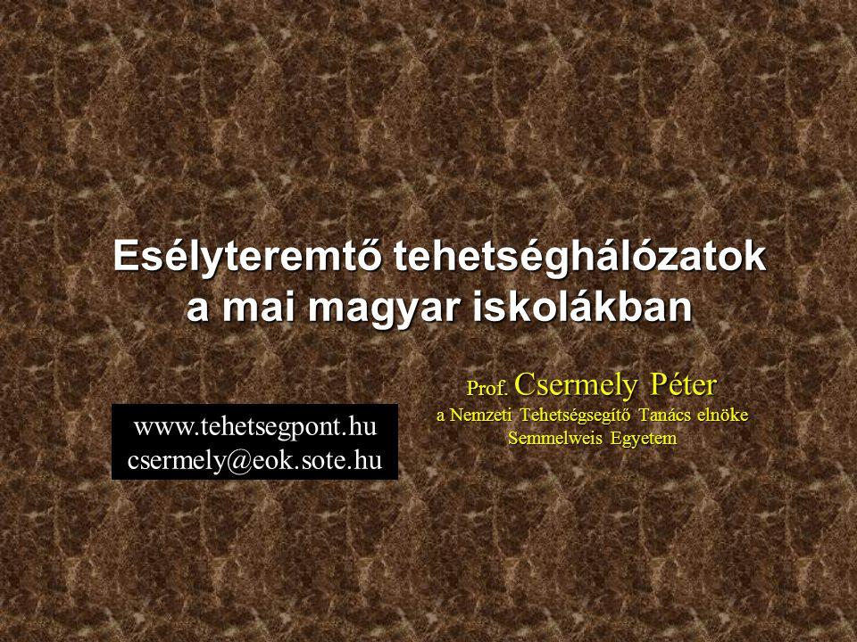 Prof. Csermely Péter a Nemzeti Tehetségsegítő Tanács elnöke Semmelweis Egyetem Esélyteremtő tehetséghálózatok a mai magyar iskolákban www.tehetsegpont
