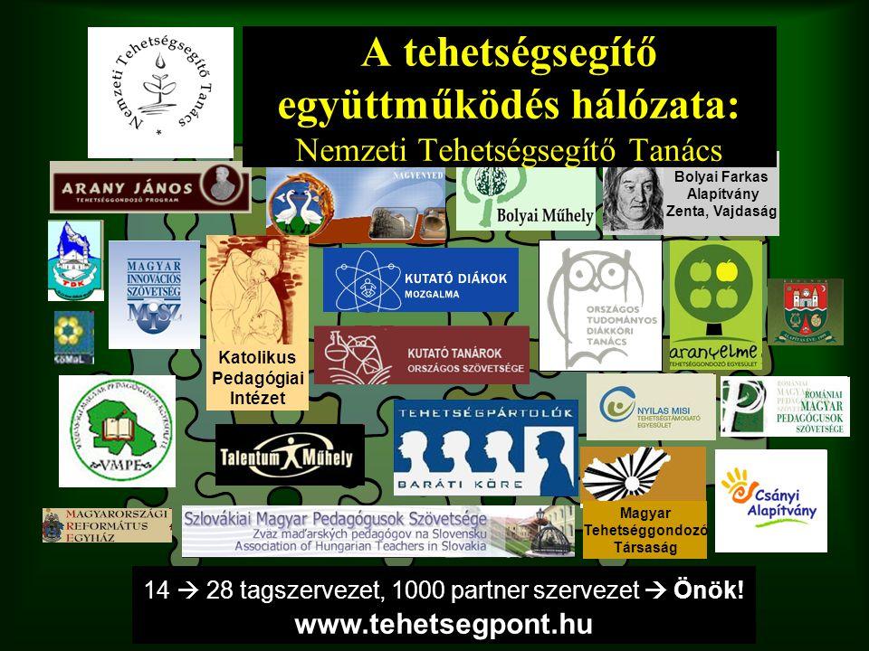 Bolyai Farkas Alapítvány Zenta, Vajdaság Katolikus Pedagógiai Intézet Magyar Tehetséggondozó Társaság 14  28 tagszervezet, 1000 partner szervezet  Ö