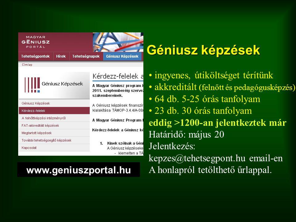 Géniusz képzések ingyenes, útiköltséget térítünk akkreditált (felnőtt és pedagógusképzés) 64 db. 5-25 órás tanfolyam 23 db. 30 órás tanfolyam eddig >1