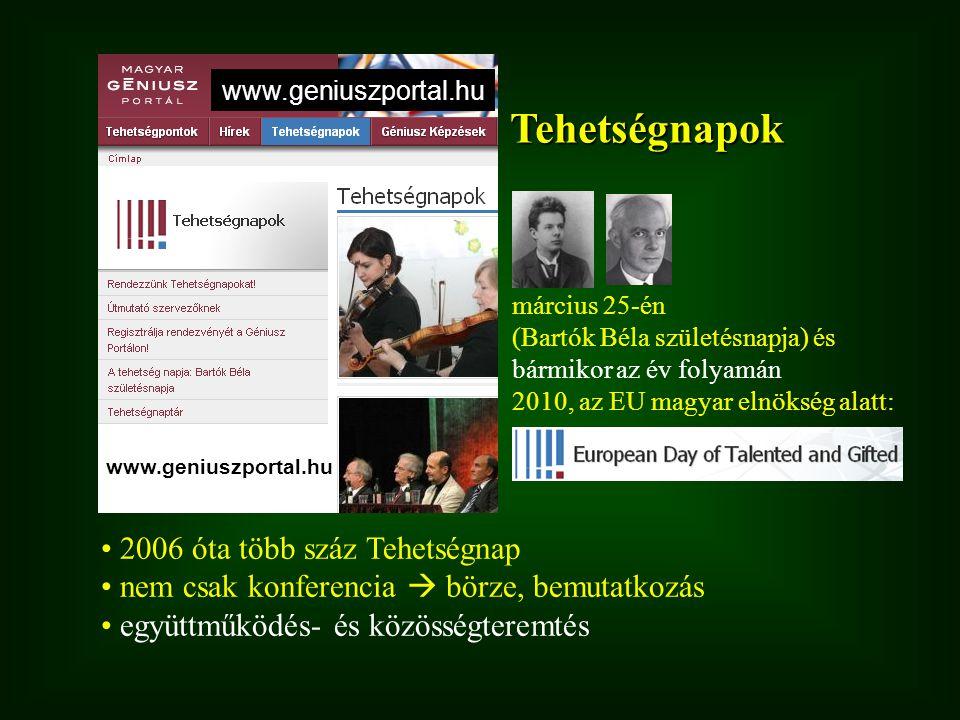 Tehetségnapok március 25-én (Bartók Béla születésnapja) és bármikor az év folyamán 2010, az EU magyar elnökség alatt: 2006 óta több száz Tehetségnap n