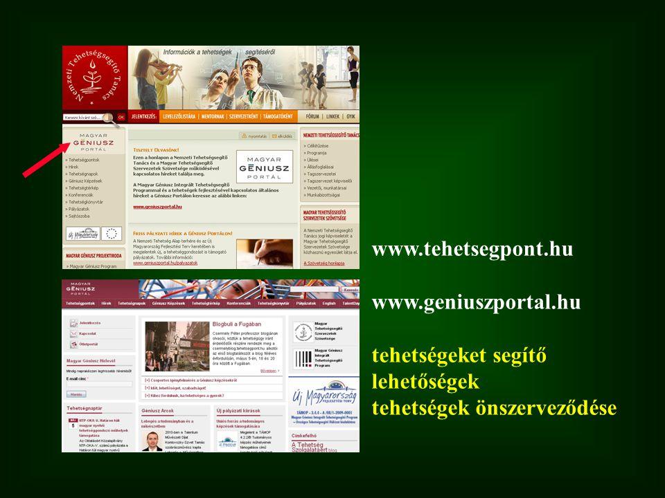 www.tehetsegpont.hu www.geniuszportal.hu tehetségeket segítő lehetőségek tehetségek önszerveződése