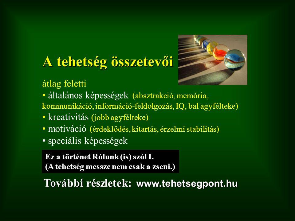 A tehetség összetevői átlag feletti általános képességek (absztrakció, memória, kommunikáció, információ-feldolgozás, IQ, bal agyfélteke) kreativitás