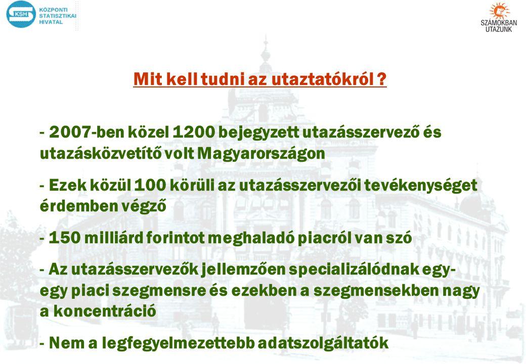 Mit kell tudni az utaztatókról ? - 2007-ben közel 1200 bejegyzett utazásszervező és utazásközvetítő volt Magyarországon - Ezek közül 100 körüli az uta