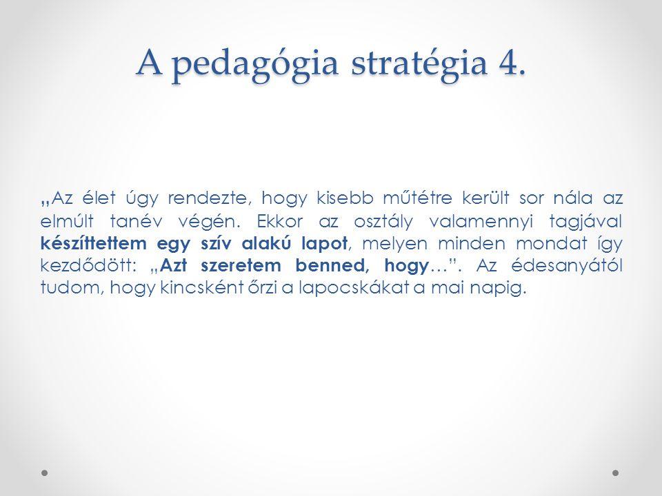 """A pedagógia stratégia 4. """" Az élet úgy rendezte, hogy kisebb műtétre került sor nála az elmúlt tanév végén. Ekkor az osztály valamennyi tagjával készí"""