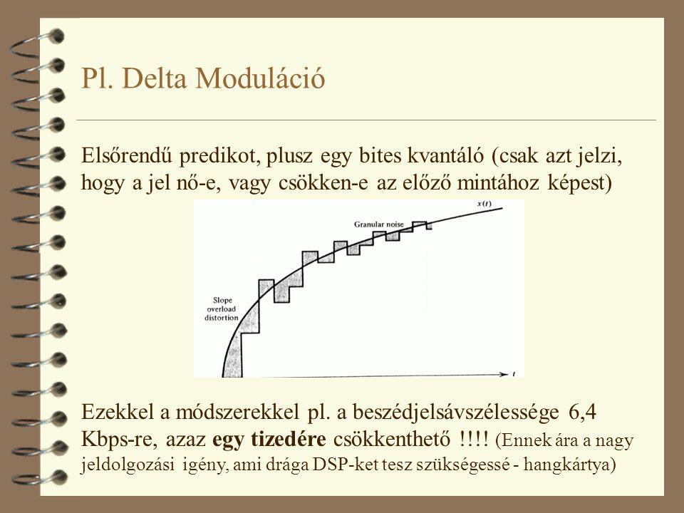 Pl. Delta Moduláció Elsőrendű predikot, plusz egy bites kvantáló (csak azt jelzi, hogy a jel nő-e, vagy csökken-e az előző mintához képest) Ezekkel a