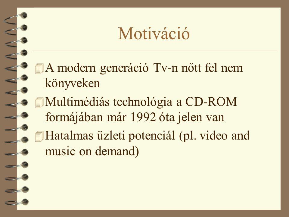 Motiváció 4 A modern generáció Tv-n nőtt fel nem könyveken 4 Multimédiás technológia a CD-ROM formájában már 1992 óta jelen van 4 Hatalmas üzleti potenciál (pl.