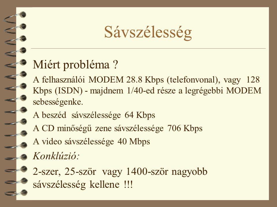 Sávszélesség Miért probléma ? A felhasználói MODEM 28.8 Kbps (telefonvonal), vagy 128 Kbps (ISDN) - majdnem 1/40-ed része a legrégebbi MODEM sebessége