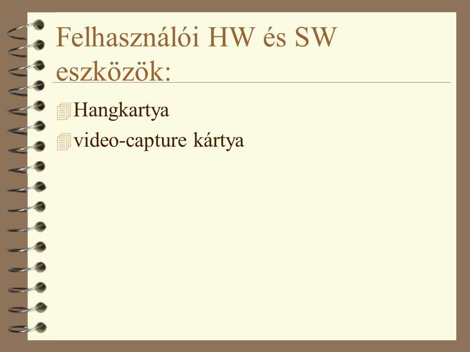 Felhasználói HW és SW eszközök: 4 Hangkartya 4 video-capture kártya