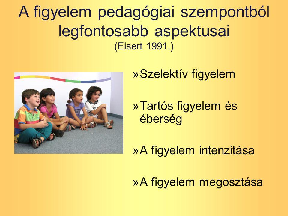 A figyelem pedagógiai szempontból legfontosabb aspektusai (Eisert 1991.) »Szelektív figyelem »Tartós figyelem és éberség »A figyelem intenzitása »A figyelem megosztása