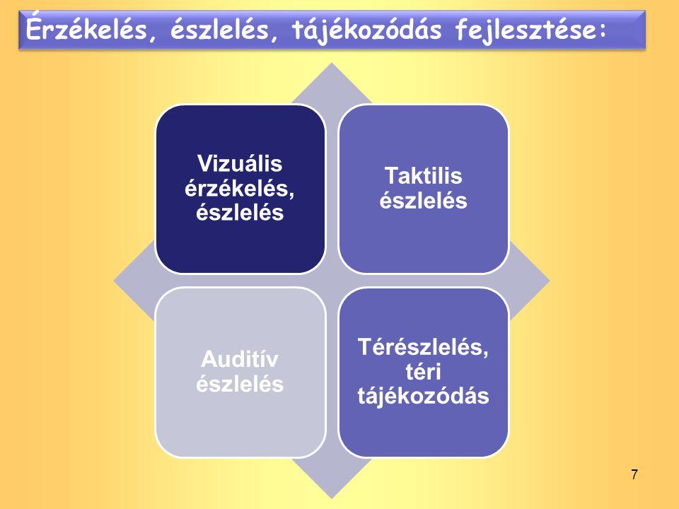 7 Érzékelés, észlelés, tájékozódás fejlesztése: Vizuális érzékelés, észlelés Taktilis észlelés Auditív észlelés Térészlelés, téri tájékozódás