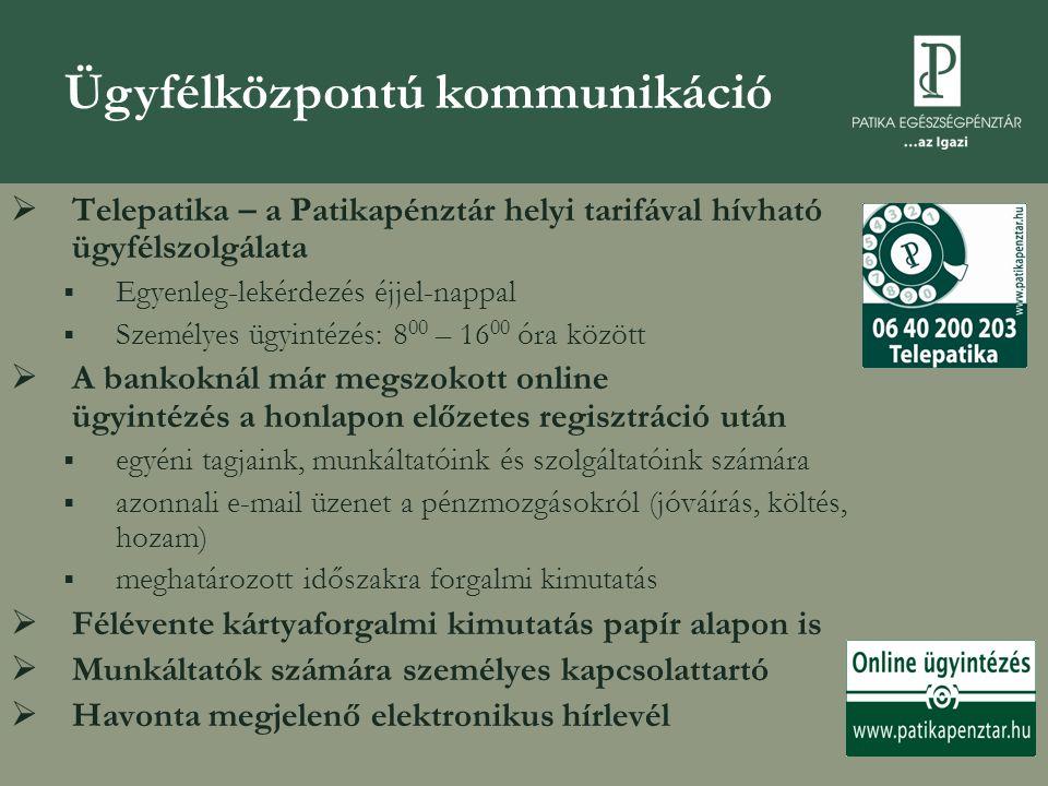  Telepatika – a Patikapénztár helyi tarifával hívható ügyfélszolgálata  Egyenleg-lekérdezés éjjel-nappal  Személyes ügyintézés: 8 00 – 16 00 óra kö