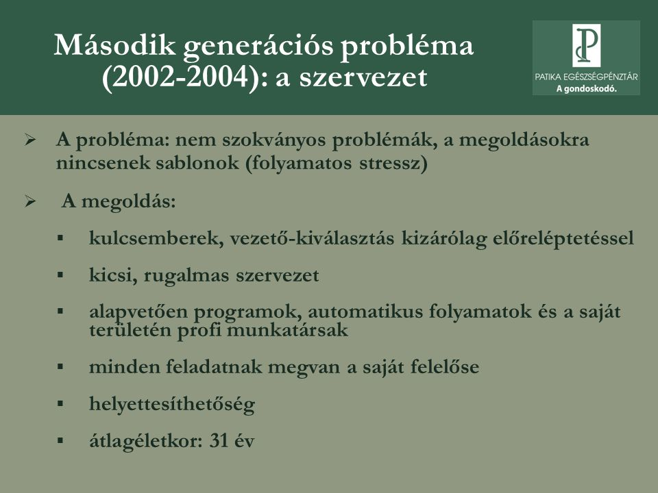 Második generációs probléma (2002-2004): a szervezet  A probléma: nem szokványos problémák, a megoldásokra nincsenek sablonok (folyamatos stressz) 