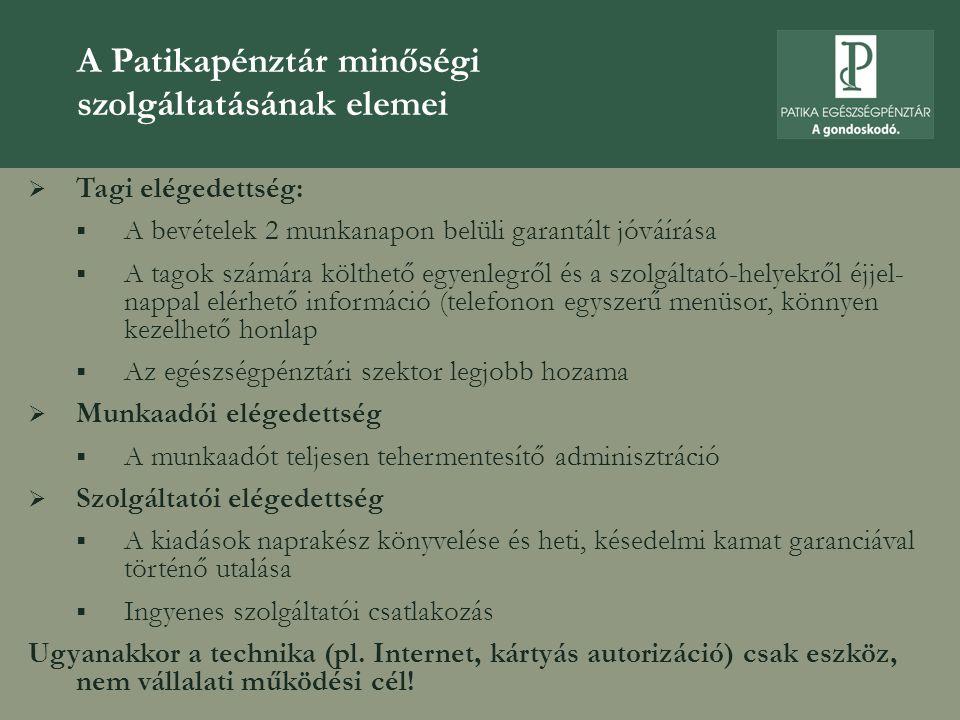 A Patikapénztár minőségi szolgáltatásának elemei  Tagi elégedettség:  A bevételek 2 munkanapon belüli garantált jóváírása  A tagok számára költhető