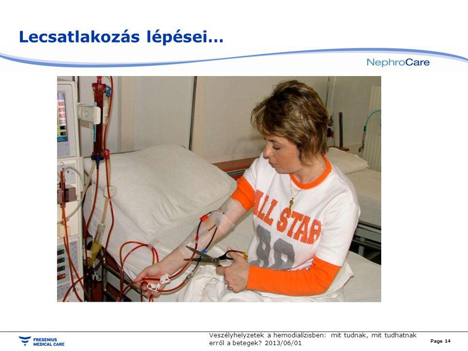 Lecsatlakozás lépései… Page 14 Veszélyhelyzetek a hemodialízisben: mit tudnak, mit tudhatnak erről a betegek.