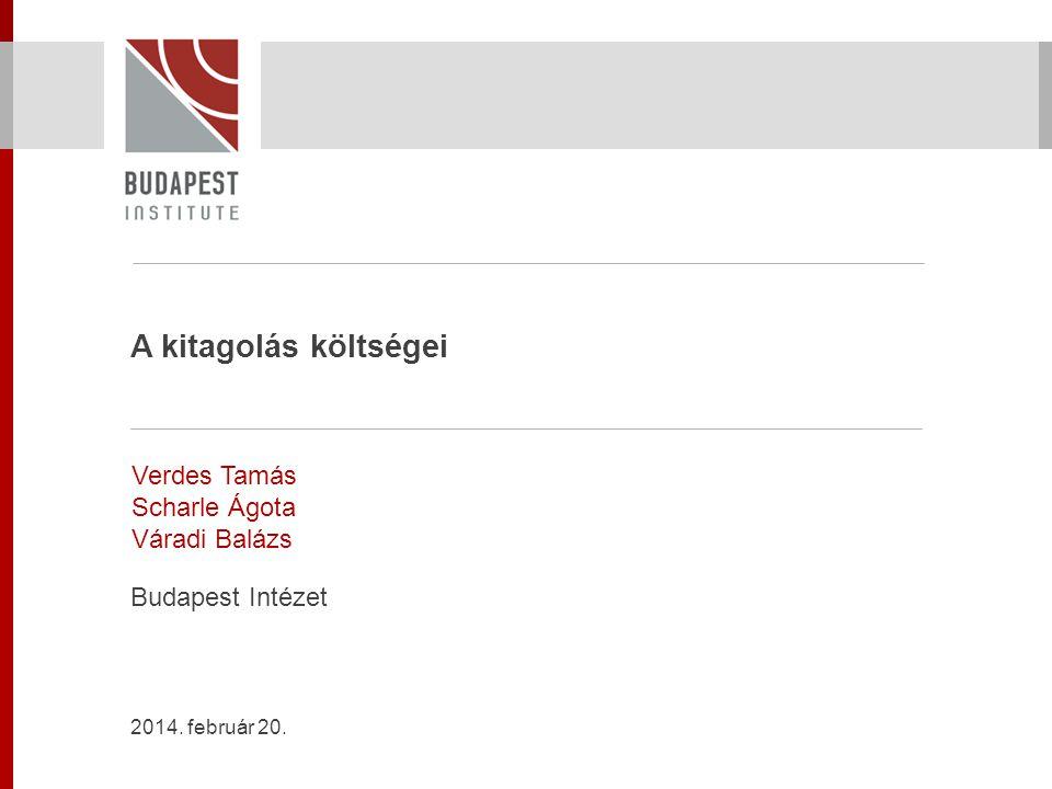 A kitagolás költségei Verdes Tamás Scharle Ágota Váradi Balázs Budapest Intézet 2014. február 20.