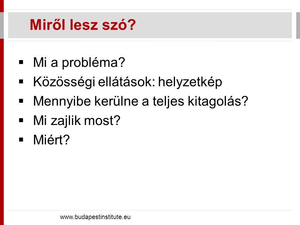 Miről lesz szó? www.budapestinstitute.eu  Mi a probléma?  Közösségi ellátások: helyzetkép  Mennyibe kerülne a teljes kitagolás?  Mi zajlik most? 
